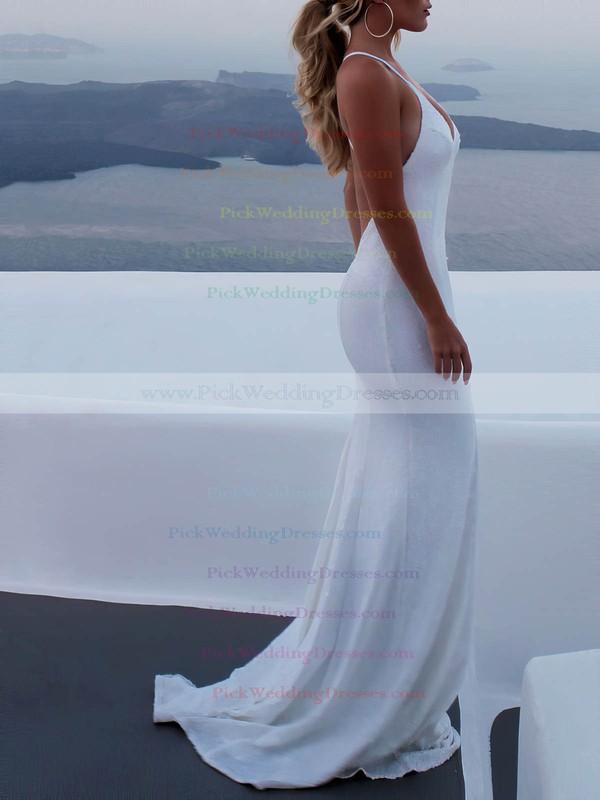 Sequined V-neck Sweep Train Trumpet/Mermaid Wedding Dresses #PWD00023473