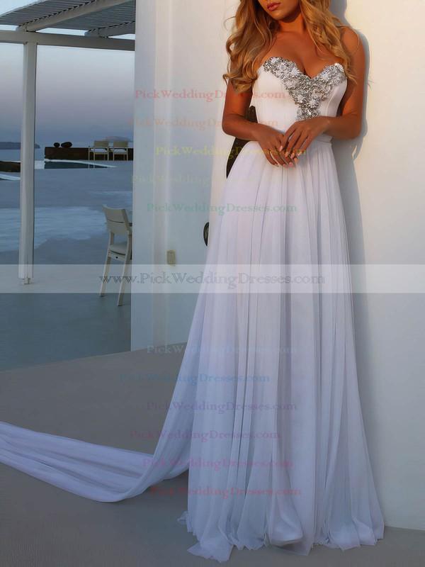 Chiffon Sweetheart Watteau Train A-line Beading Wedding Dresses #PWD00023474