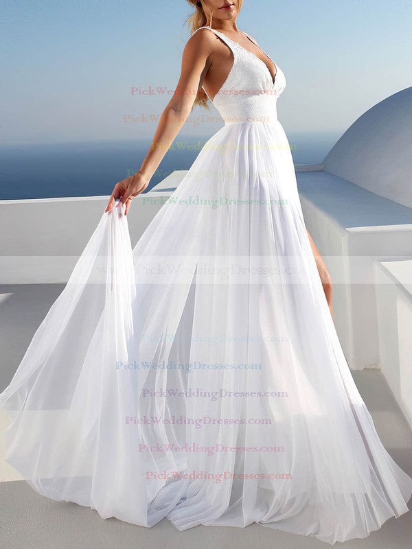 Chiffon V-neck Sweep Train A-line Appliques Lace Wedding Dresses #PWD00023475