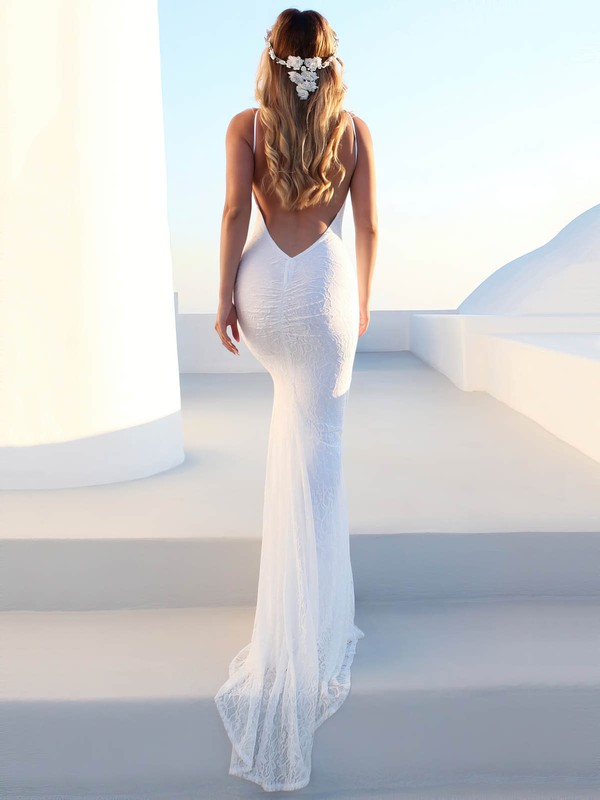 Lace Scoop Neck Sweep Train Sheath/Column Wedding Dresses #PWD00023476