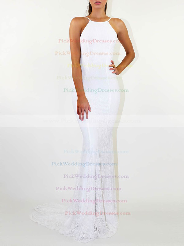 Lace Scoop Neck Sweep Train Sheath/Column Wedding Dresses #PWD00023476