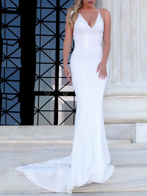 Sequined V-neck Sweep Train Trumpet/Mermaid Appliques Lace Wedding Dresses #PWD00023477