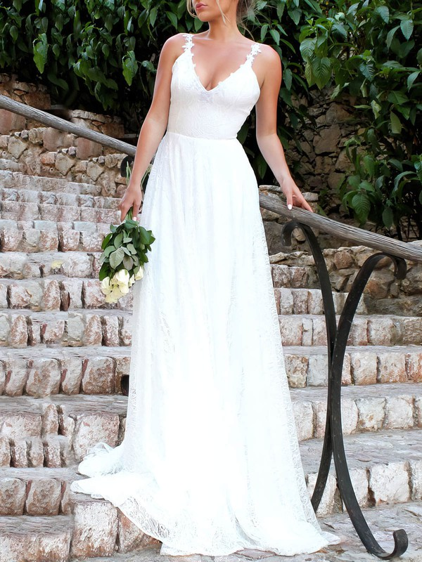 Lace V-neck Sweep Train A-line Appliques Lace Wedding Dresses #PWD00023478