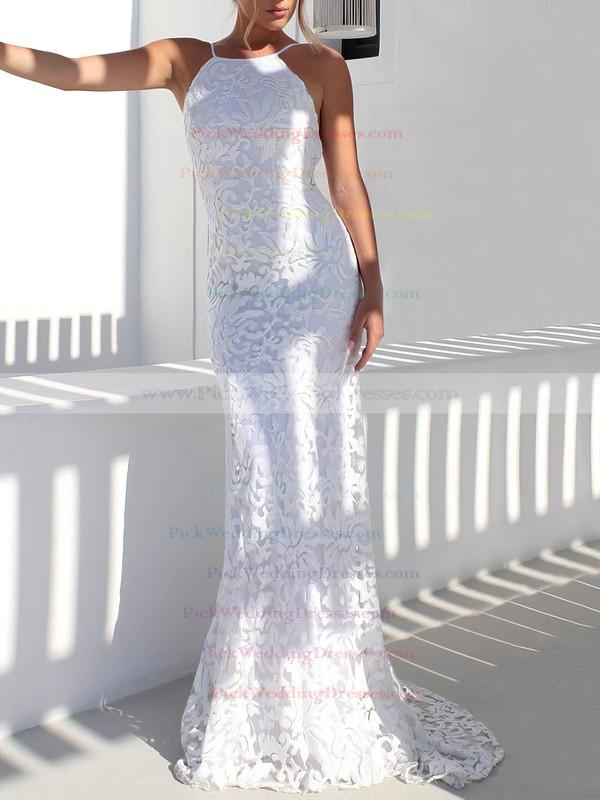 Lace Scoop Neck Sweep Train Trumpet/Mermaid Wedding Dresses #PWD00023479