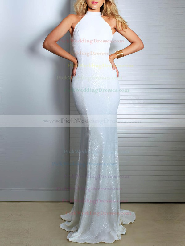 Sequined High Neck Sweep Train Trumpet/Mermaid Wedding Dresses #PWD00023480