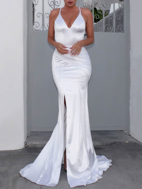 Satin V-neck Sweep Train Trumpet/Mermaid Ruffles Wedding Dresses #PWD00023481