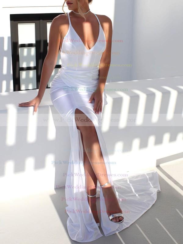 Satin V-neck Sweep Train Trumpet/Mermaid Ruffles Wedding Dresses #PWD00023481