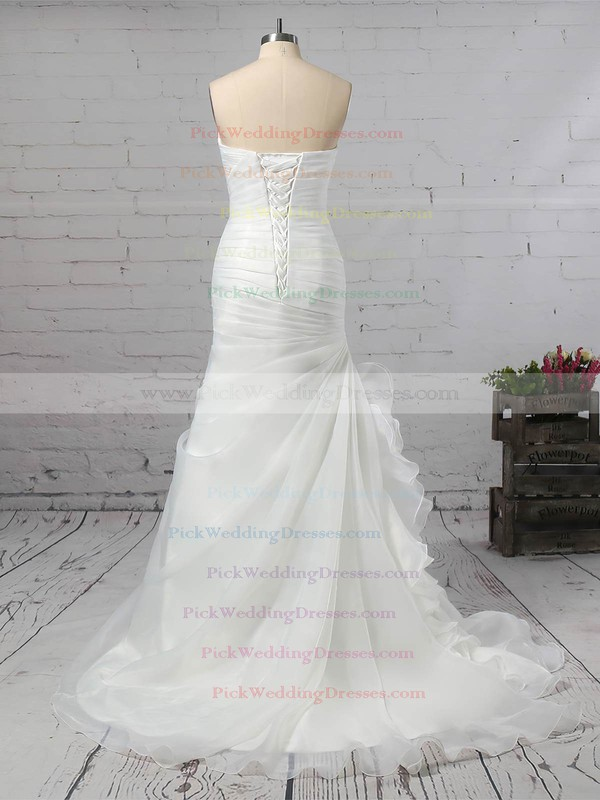 Chiffon Sweetheart Sweep Train Trumpet/Mermaid Ruched Wedding Dresses #PWD00023291