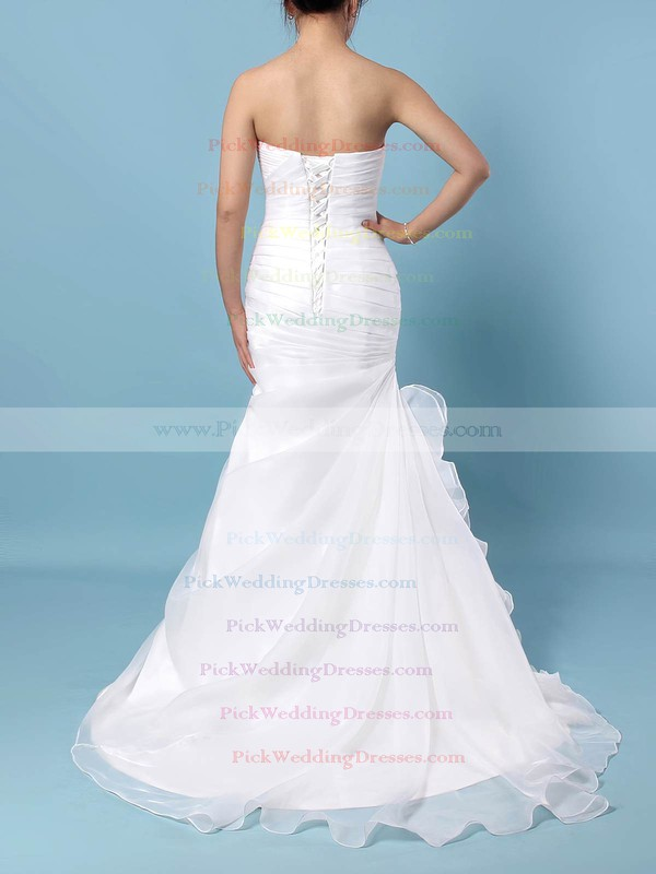 Chiffon Sweetheart Sweep Train Trumpet/Mermaid Ruched Wedding Dresses #PWD00023291