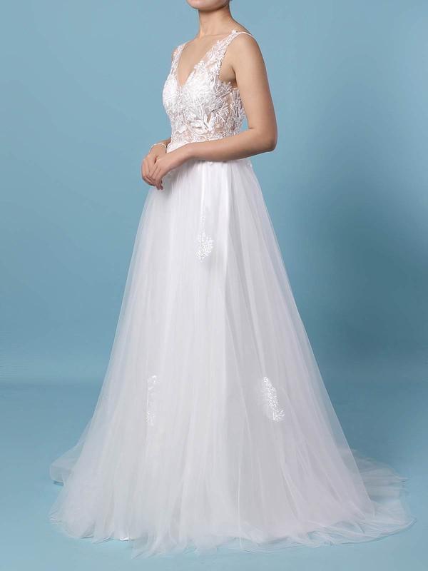 Tulle V-neck Floor-length A-line Appliques Lace Wedding Dresses #PWD00023352
