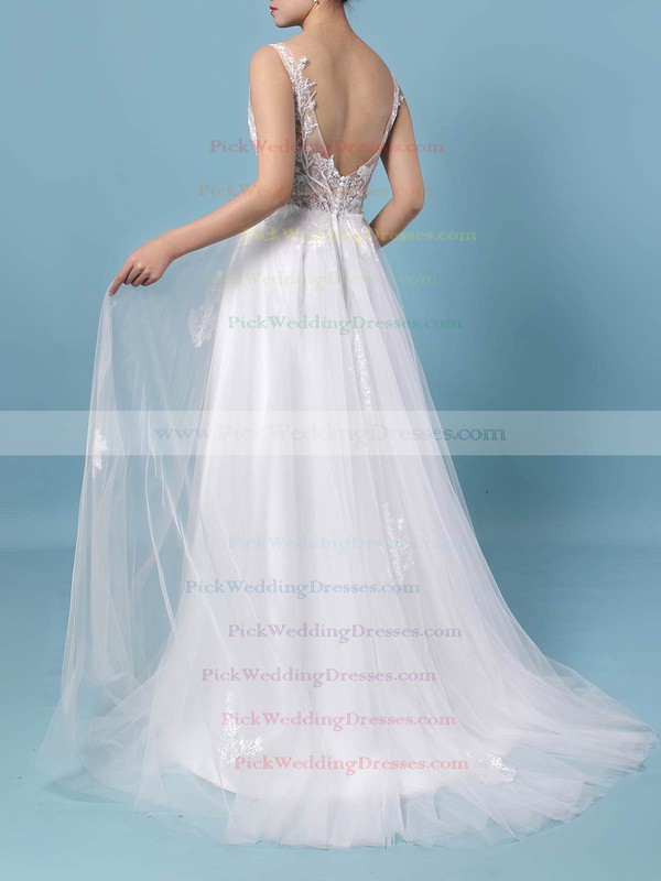 Tulle V-neck Floor-length A-line Appliques Lace Wedding Dresses #PWD00023352