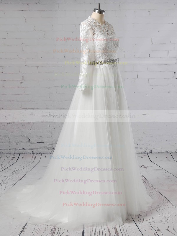Tulle Scoop Neck Sweep Train Ball Gown Appliques Lace Wedding Dresses #PWD00023354