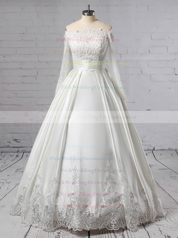 Lace Satin Off-the-shoulder Floor-length Ball Gown Beading Wedding Dresses #PWD00023376