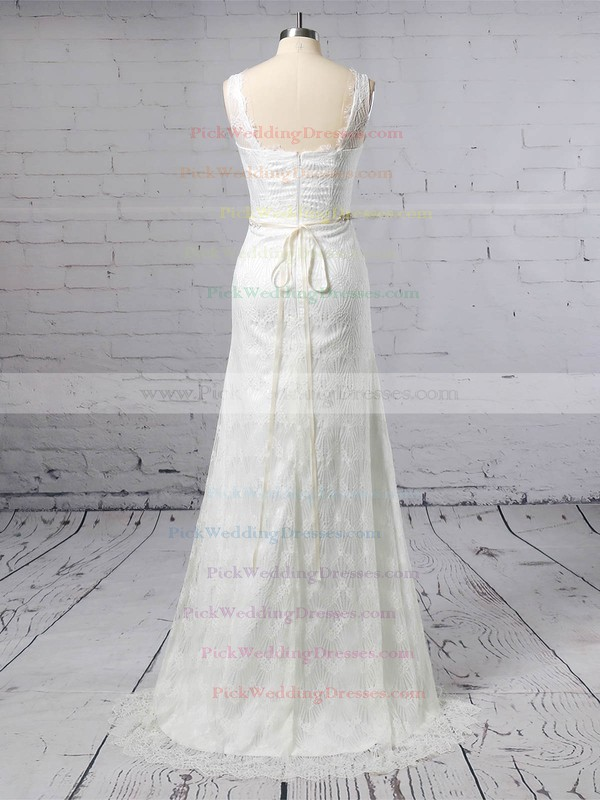 Lace V-neck Sweep Train Trumpet/Mermaid Sashes / Ribbons Wedding Dresses #PWD00023378