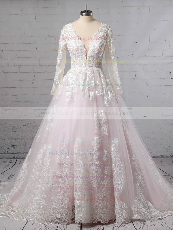 Tulle V-neck Sweep Train Ball Gown Appliques Lace Wedding Dresses #PWD00023379