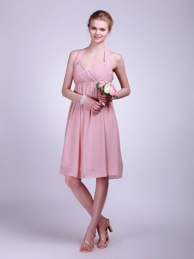 A-line Knee-length Chiffon Ruffles Halter Bridesmaid Dresses #PWD01012019