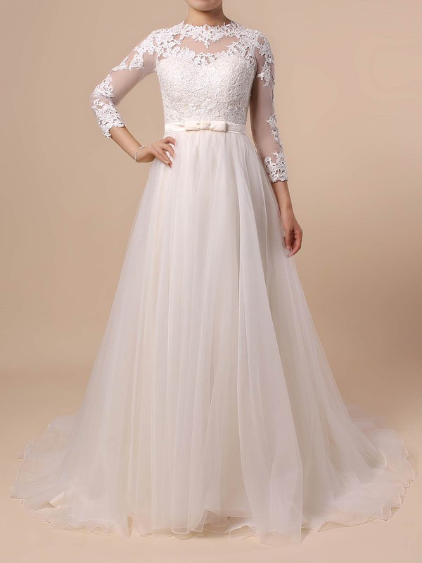 df7d44c37b4 Tulle Scoop Neck Sweep Train Princess Appliques Lace Wedding Dresses   PWD00023382