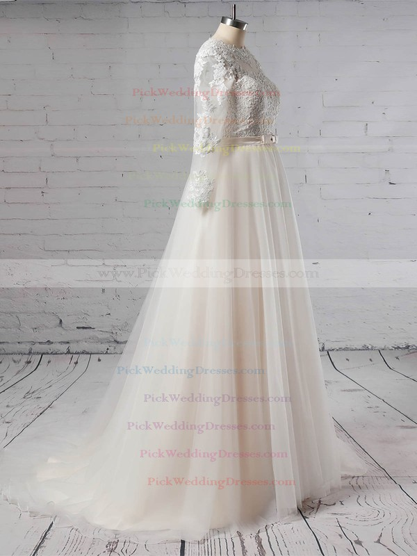 Tulle Scoop Neck Sweep Train Princess Appliques Lace Wedding Dresses #PWD00023382