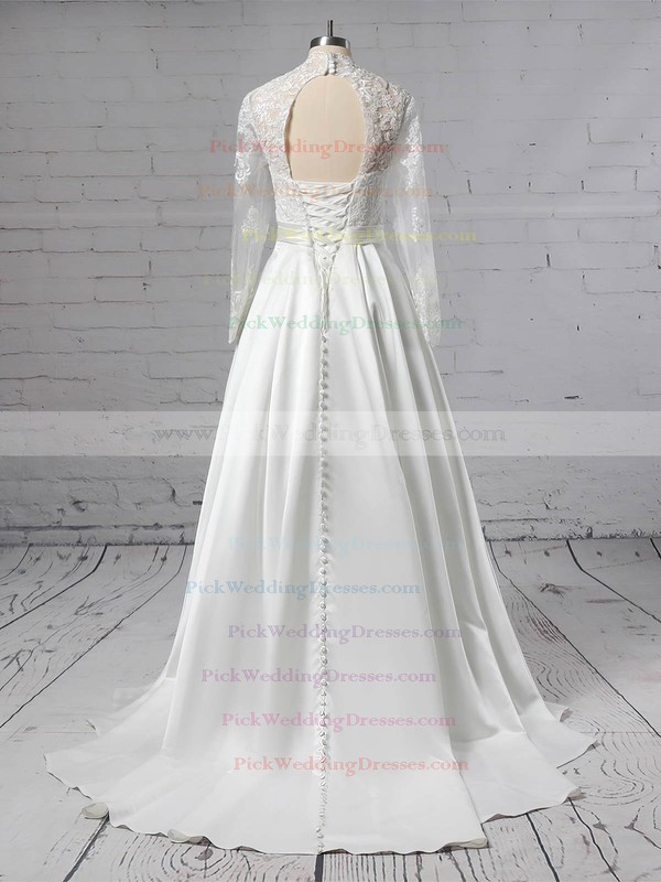 Satin Tulle V-neck Sweep Train Ball Gown Appliques Lace Wedding Dresses #PWD00023383