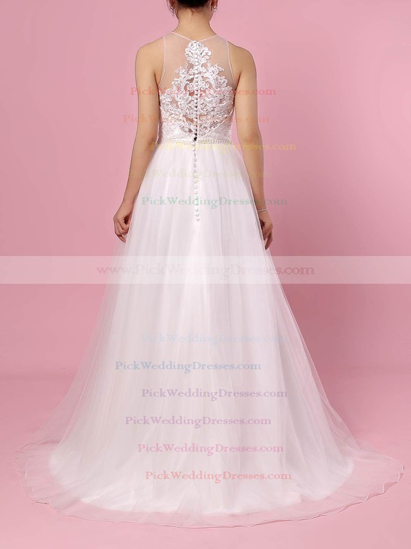 Tulle Scoop Neck Sweep Train A-line Beading Wedding Dresses #PWD00023384