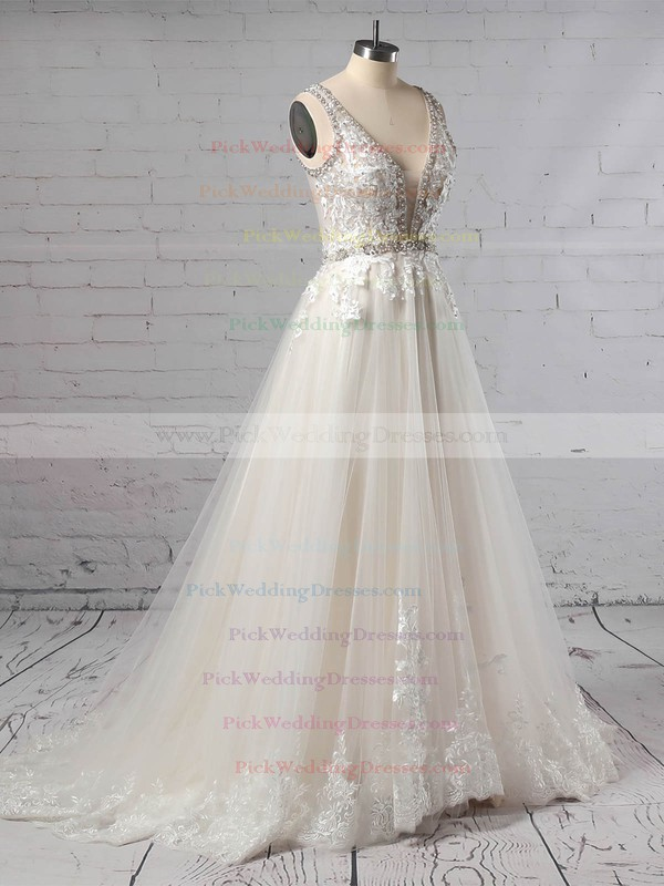 Tulle V-neck Sweep Train Princess Beading Wedding Dresses #PWD00023386
