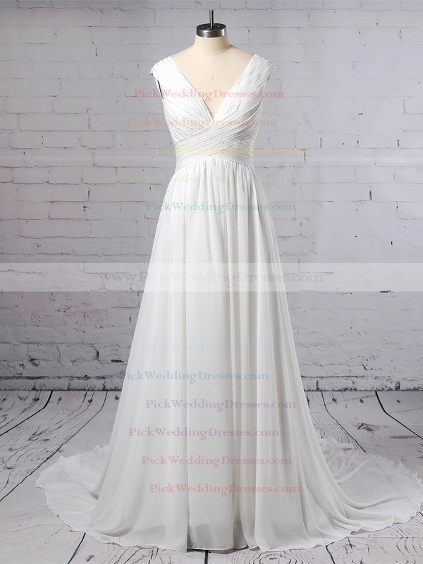 Chiffon V-neck Sweep Train A-line Beading Wedding Dresses #PWD00023396