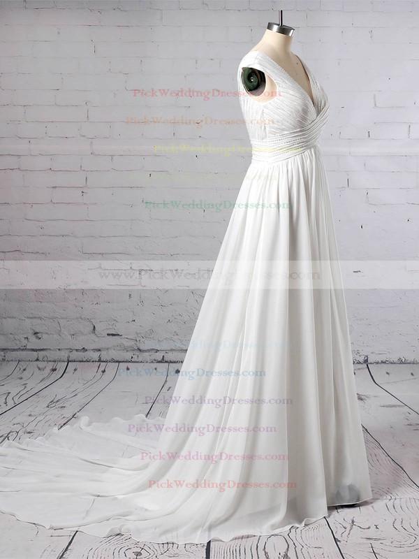 Chiffon V-neck Sweep Train A-line Beading Wedding Dresses #PWD00023396