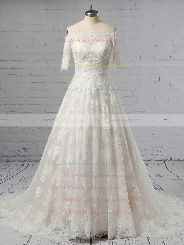 Lace Off-the-shoulder Sweep Train Princess Wedding Dresses #PWD00023397