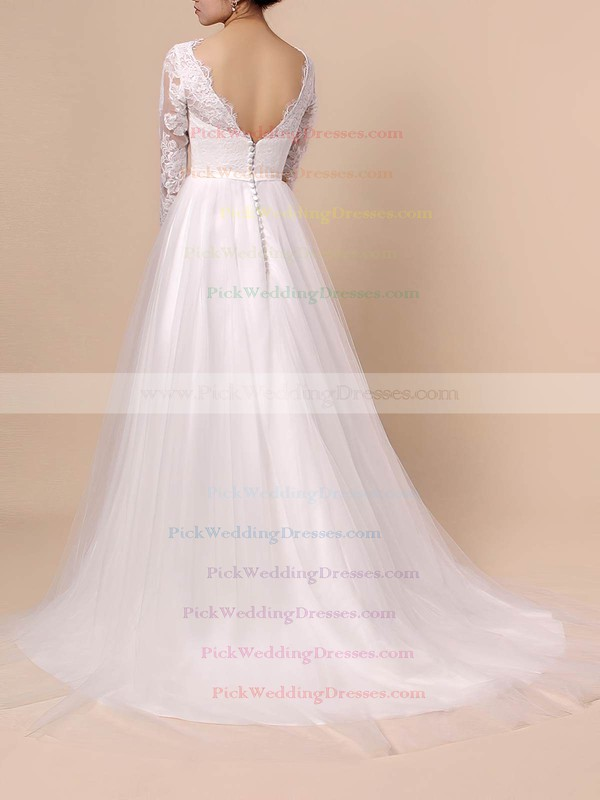 Lace Tulle Scoop Neck Sweep Train A-line Appliques Lace Wedding Dresses #PWD00023402