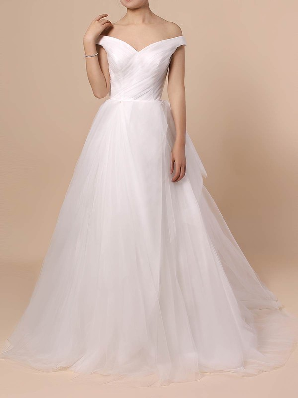 Tulle Off-the-shoulder Sweep Train Ball Gown Ruffles Wedding Dresses #PWD00023404