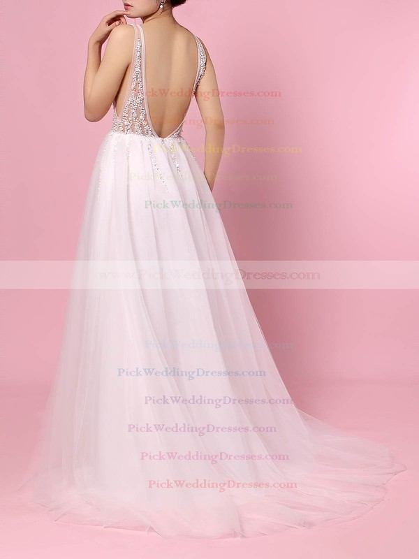 Tulle V-neck Sweep Train Princess Beading Wedding Dresses #PWD00023406