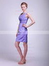 Sheath/Column Knee-length Satin Ruched V-neck Bridesmaid Dresses #PWD01012021