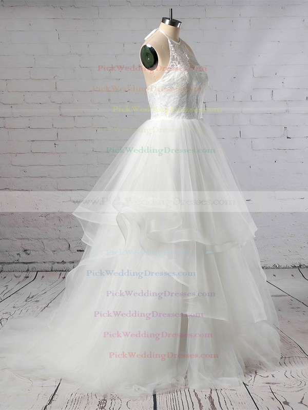 Tulle Halter Sweep Train Ball Gown Lace Wedding Dresses #PWD00023421