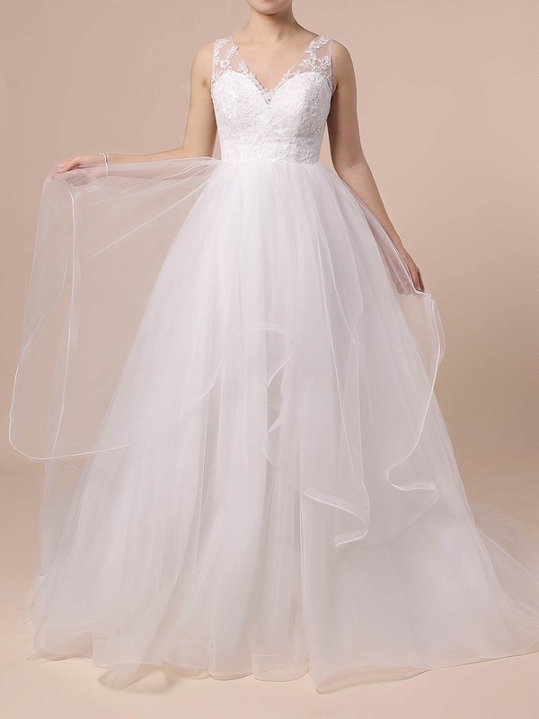 Lace Tulle V-neck Sweep Train Princess Cascading Ruffles Wedding Dresses #PWD00023422