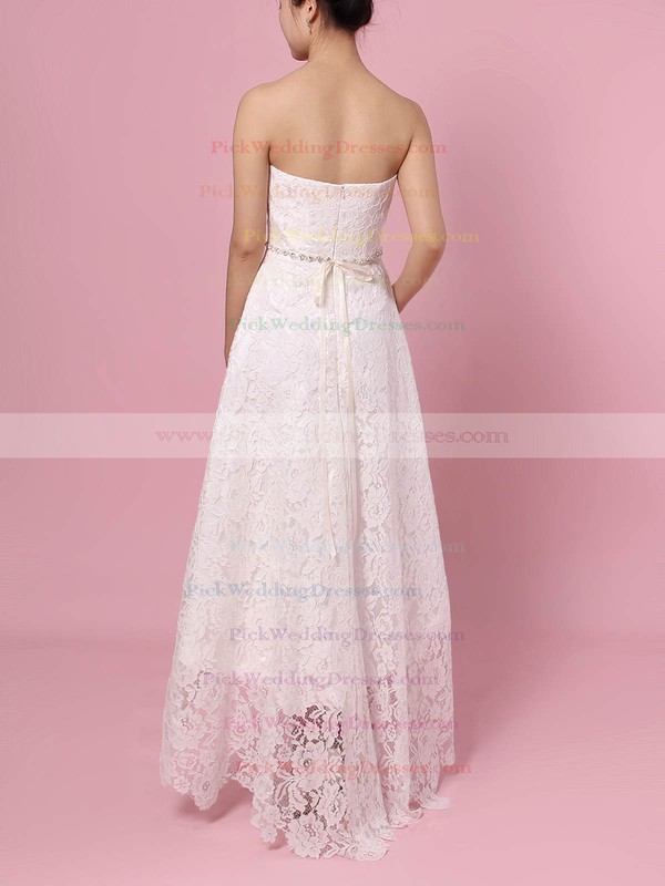 Lace Strapless Asymmetrical A-line Sashes / Ribbons Wedding Dresses #PWD00023425