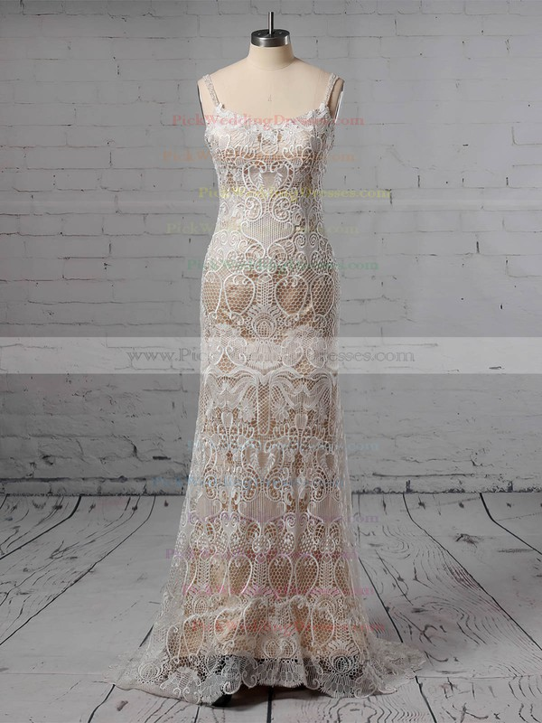 Lace V-neck Sweep Train Trumpet/Mermaid Beading Wedding Dresses #PWD00023428