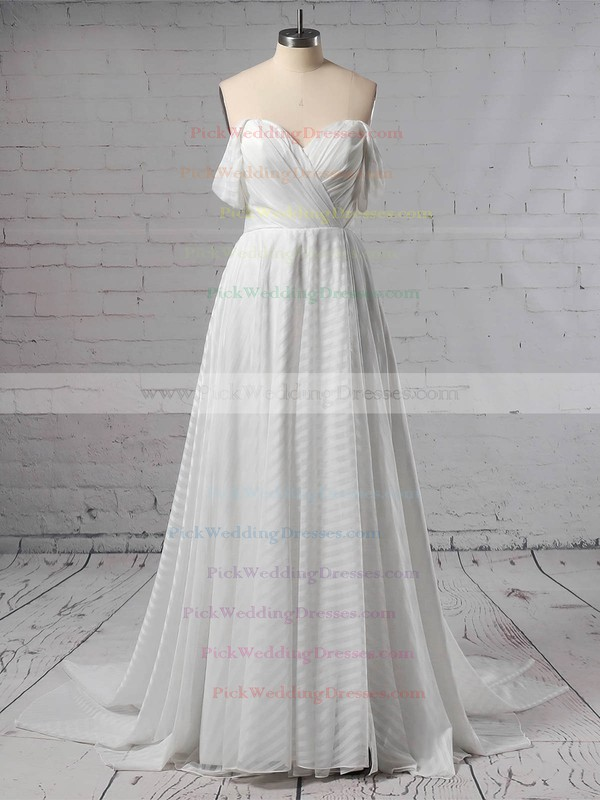 Organza Off-the-shoulder Sweep Train Ball Gown Split Front Wedding Dresses #PWD00023433