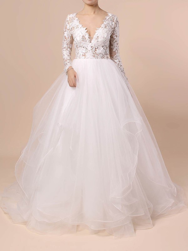 Organza Tulle V-neck Sweep Train Ball Gown Cascading Ruffles Wedding Dresses #PWD00023436