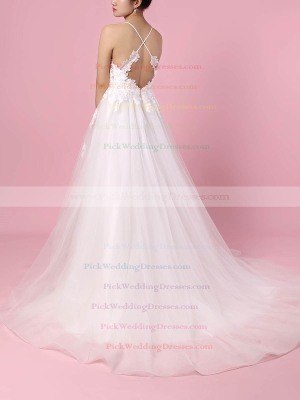 Tulle V-neck Sweep Train Ball Gown Appliques Lace Wedding Dresses #PWD00023438