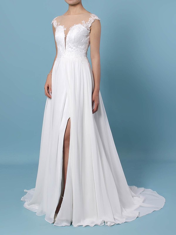 Chiffon Tulle Scoop Neck Sweep Train A-line Lace Wedding Dresses #PWD00023440