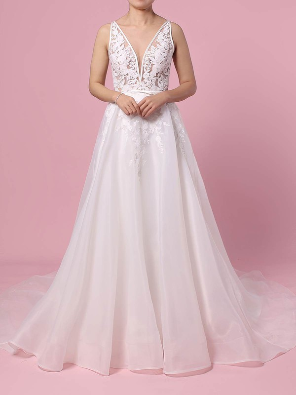 Organza Tulle V-neck Sweep Train A-line Appliques Lace Wedding Dresses #PWD00023442