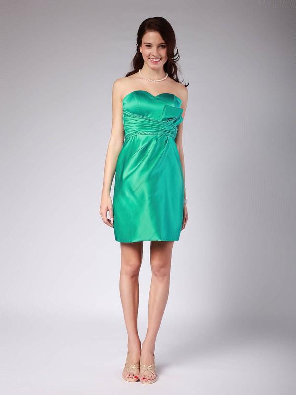 Sheath/Column Short/Mini Satin Pleats Sweetheart Bridesmaid Dresses #PWD01012022