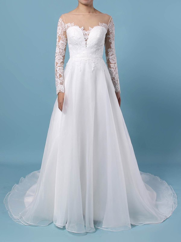 Organza Tulle Scoop Neck Sweep Train A-line Appliques Lace Wedding Dresses #PWD00023444