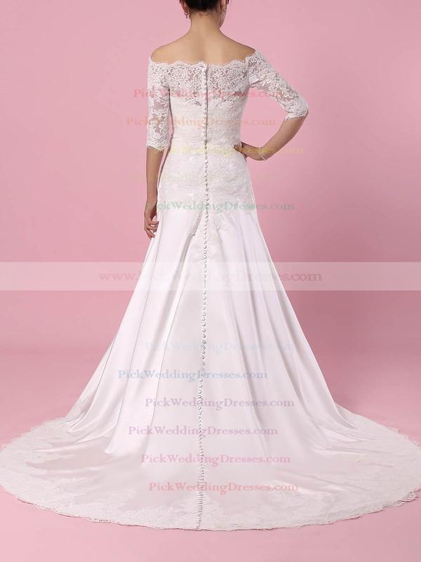 Lace Satin Off-the-shoulder Sweep Train Sheath/Column Appliques Lace Wedding Dresses #PWD00023445