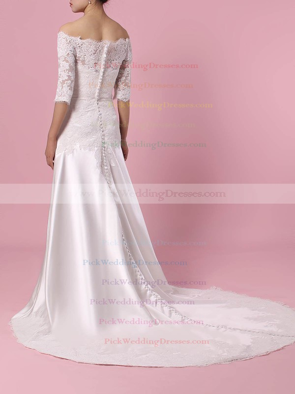 Lace Satin Off-the-shoulder Sweep Train Sheath/Column Appliques Lace Wedding Dresses #PWD00023445
