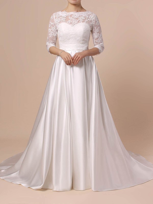 Lace Satin Scalloped Neck Sweep Train Ball Gown Sashes / Ribbons Wedding Dresses #PWD00023446