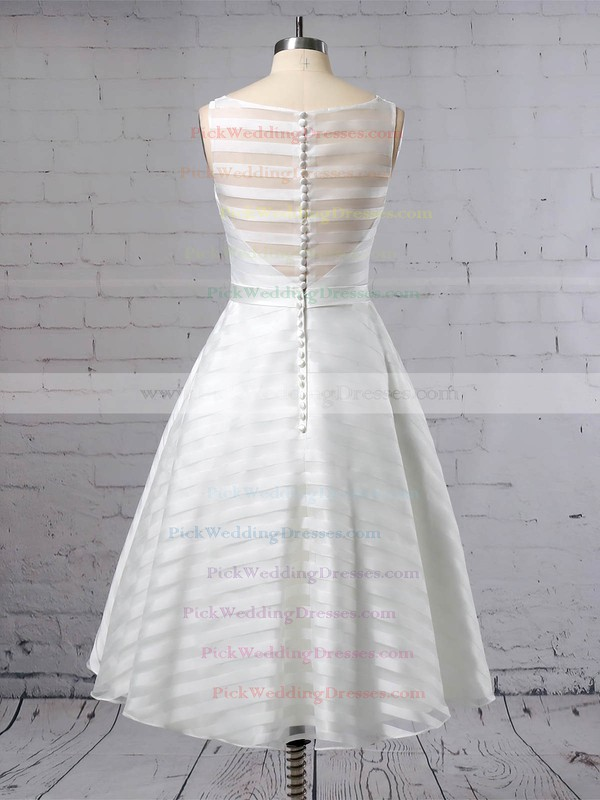 Organza Scoop Neck Tea-length Ball Gown Sashes / Ribbons Wedding Dresses #PWD00023449