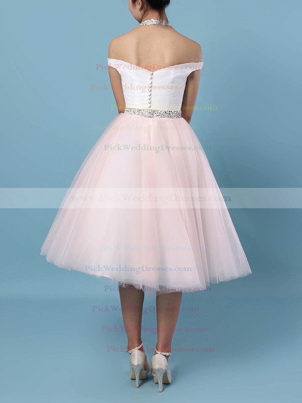 Tulle Halter Tea-length Ball Gown Beading Wedding Dresses #PWD00023450