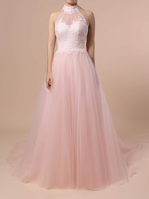 Tulle Halter Sweep Train A-line Appliques Lace Wedding Dresses #PWD00023452