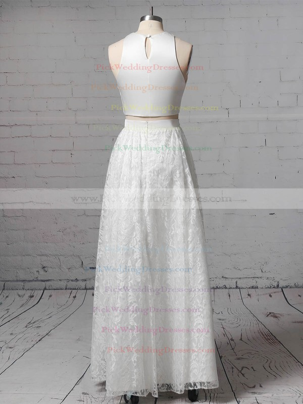 Lace Scoop Neck Floor-length A-line Pockets Wedding Dresses #PWD00023456